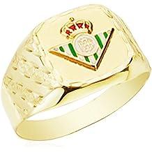 Sello tallado rectangular escudo Betis. Oro 9k. Producto Oficial. Personalizable, grabado incluido. 12x13mm