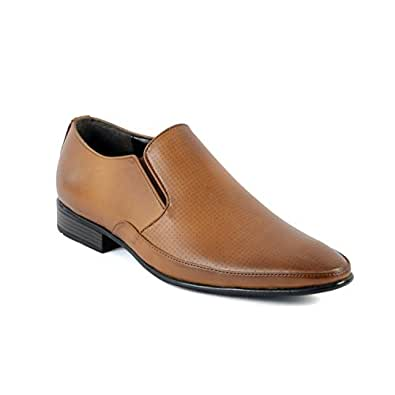 Black Brown Tan BBT Men's Tan Synthetic Leather Formal Moccasion Shoes