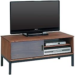 IDIMEX Meuble TV Selma Banc télé de 98 cm au Style Industriel Design Vintage avec 1 Porte coulissante et 1 Compartiment Ouvert, en pin Massif teinté Brun foncé