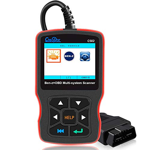 LOVEhome Creator C502 OBDII/EOBD Scanner Vehicle Code Reader,Car Fault Detector Benz & Smart Check Engine Light EPB ABS SRS Multi-System Code Reader C120 Display