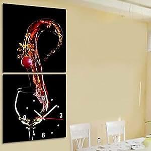 JoJo style moderne Thème Vin Horloge murale toile dans Jeu de 2