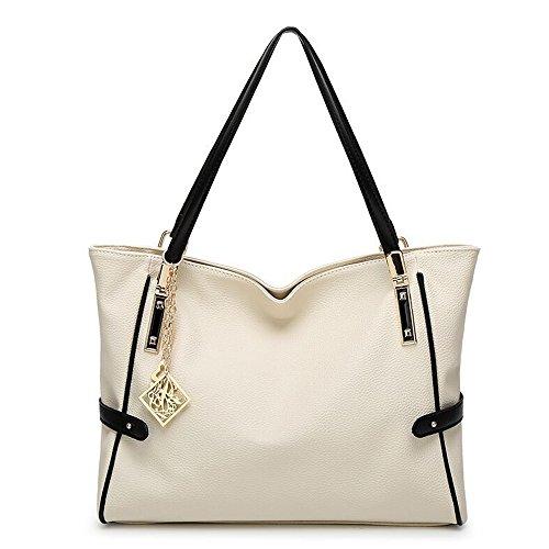 wewod Mode Borsa a mano spalla borsa in ecopelle da donna con decorazione grazioso bianco