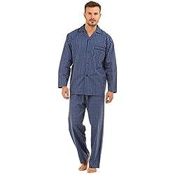 hommes haigman imprimé 100% Coton Long Pyjama pyjama salon vêtement, Fine Navy Check, Medium 38-40 Chest