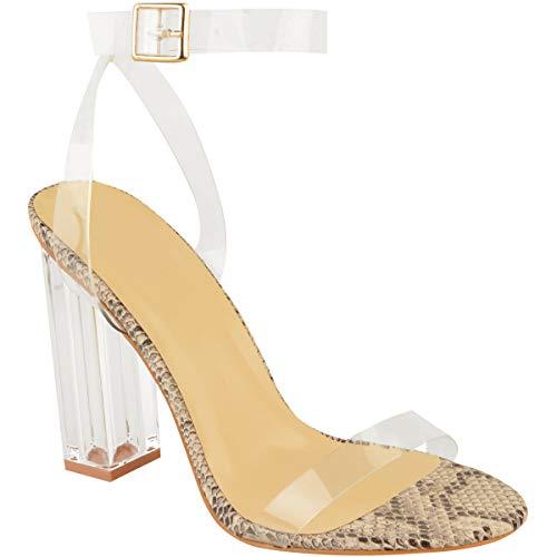 ns Ladies High Heels Sandals Perspex Hologram Clear Block Heel Party Shoes ()