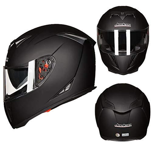 Double Lens Motorrad Matte Black Helm Männer Vollgesichts Motorrad Roller Helme Abs Material Frauen Helme Professionelle Mountainbike Motocross Sicherheitskappen (Helm Aegis)