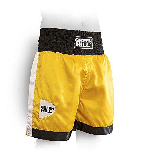 GREEN HILL Pantalón DE Boxeo Piper Profesional Amateur Pantalónes Cortos Boxing (Amarillo/Negro/Blanco,M)