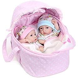 CHENGXX Muñeca Reborn Gemelos De 22 Pulgadas para Niños Y Niñas Cuerpo Completo De Silicona Bebé Recién Nacido Muñeca Renacida Pareja De Baño Juguete De Regalo 56 Cm.