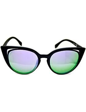 IRIS GLASS Gafas de sol Modelo ojos de gato, Montura de policarbonato de diseño, Cristales de espejo de alta calidad...