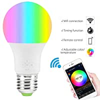 AiCheaX WiFi Smart Light Bulb, Dimmable, Multicolor, Wake-Up Lights, No Hub Required, Magic Light Compatible with Alexa Assistant - (Color: 4.5w)