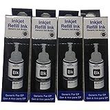 We Tech L350Ink Set For Epson L100, L110, L130, L200, L210, L220, L300, L310, L350, L355, L360, L365, L455, L550, L555, L565, L1300 (4 Black Bottles)