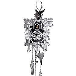 Schwarzwälder Kuckucksuhr aus Echtholz mit batteriebetriebenem Quartzwerk und Kuckuckruf - Angebot von Uhren-Park Eble - Engstler -Modern Style 42cm- 532/5/13 Q