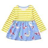 bobo4818 Kleinkind Baby Mädchen Kurzarm Kleid Kind Sommer Kleidung Stickerei Prinzessin Party Kleider (Blue, 140)