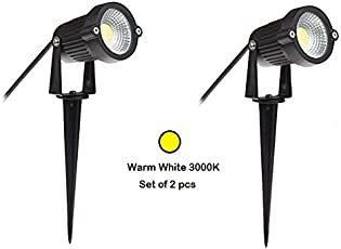 Glitz Led outdoor Set of 2pcs Garden SPOT and SPIKE, IP65, Warm White 3000k, Heavy duty Aluminium Body, 5watts