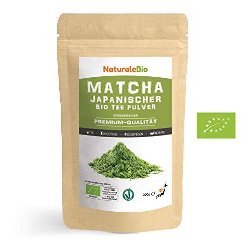 Matcha Tee Pulver Bio [Premium-Qualität] 200g | Original Green Tea aus Japan | Japanischer Matcha ideal zum Trinken | Grüntee-Pulver für Latte, Smoothies, Matcha-Getränk | Hergestellt in Uji, Kyoto.