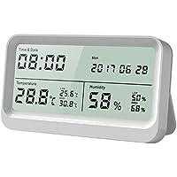 Termometro Igrometro Digitale, AngLink Temperatura e Umidità Meter con Grande Display LCD 16:9 Misuratore Digitale della Temperatura, Umidità, Orologio e Calendario