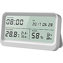 Higrómetro Digital, Anglink 16: 9 LCD Monitor Panorámico Termómetro Higrómetro con Fecha y Hora