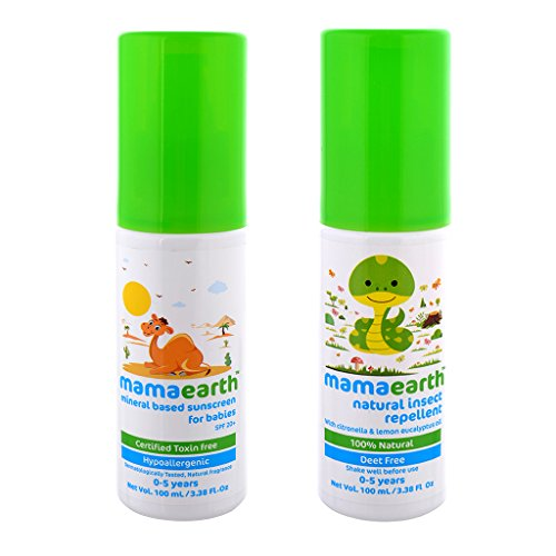 Mamaearth Mineral Based Baby Sunscreen with Natural Insect Baby Repellent(100 ml each,0-5 Yrs)