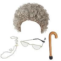 Blue Planet Online - Granny Wig, Glasses, Pearl Necklace & Walking Stick Fancy Dress