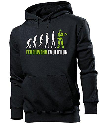 feuerwehr sweatshirt love-all-my-shirts Feuerwehr Evolution 2057 Feuerwehrmann Herren Hoodie Schwarz aufdruck Grün S