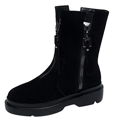 MYMYGFlache Schuhe für Damen Casual High Heel Schuhe Seitlicher Reißverschluss Wilde Quaste Kurze Stiefel Halbschaft Chelsea Boots Kurzschaft Madeline Stiefeletten Winterstiefel