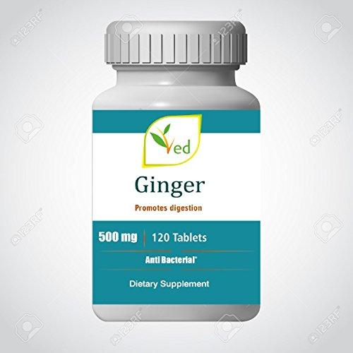 Bio-Ingwer-Wurzel-Extrakt 500 mg Nahrungsergänzungsmittel für Verdauung, Immunität, Nierenreinigung, Körpergiftentfernung - 120 Tabletten von Ved Healthcare