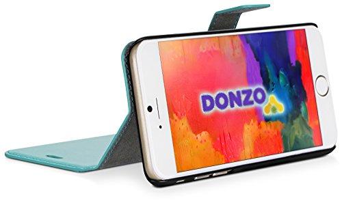 DONZO Tasche Handyhülle Cover Case für das Apple iPhone 6 / 6S in Grau Wallet Travel als Etui seitlich aufklappbar im Book-Style mit Kartenfach nutzbar als Geldbörse Wallet Washed Blau