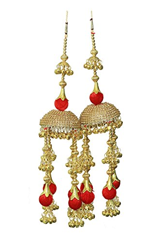 Parecido Designer Traditional Wedding Kaleere set in Golden and Red color for Women