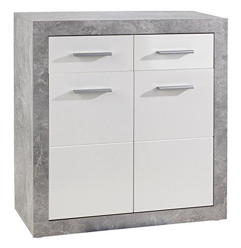 Kommode, Weiß, Glänzend, 2 Türen, 2 Schubkästen, 82x88x37 cm