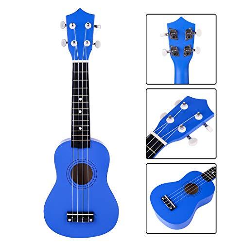 GODNECE 4 Saiten Kindergitarre Spielzeug mit Plektrum für Anfänger Ukulele Kinder ab 3 Jahre (Dunkelblau)
