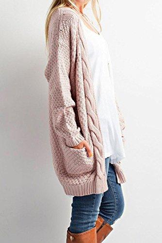 Minetom Femme Automne Élégant Cardigan Ouvert Tricoté Mode Poche Chandails En Maille Lâche Manches Longues Twist Manteau Pulls Tops Rose