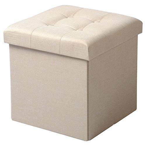 Woltu sedia a cubo pieghevole pouf cassapanca poggiapiedi panche contenitore con coperchio rimovibile mdf oxford lino beige