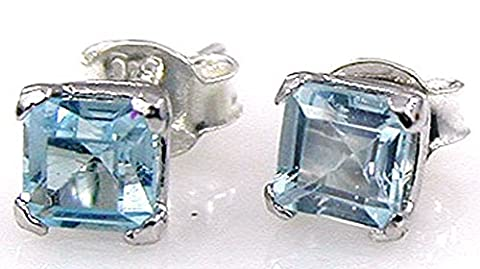 1.30 ctw Genuine Blue Topaz 5mm Square & Solid .925 Sterling Silver Stud Earrings for Women and Girls