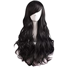 MapofBeauty 70cm/28 pulgada Onda larga peluca de pelo rizado completo para la Mujer larga