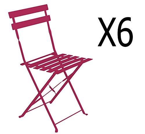 PEGANE Lot de 6 chaises pliantes en acier coloris framboise - Dim: 42 x 47 x 81 cm