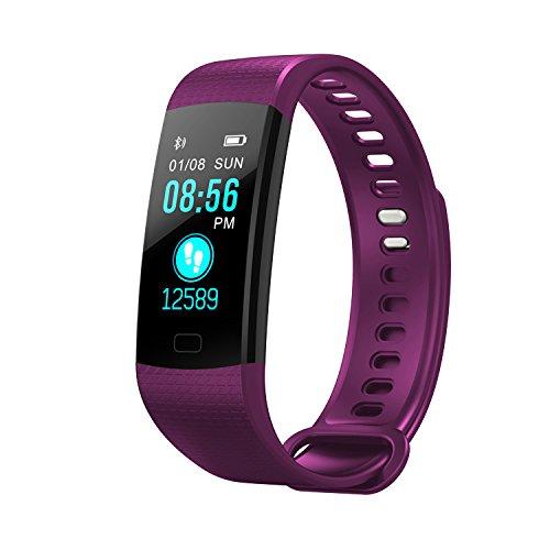 Kapel Eignungs Verfolger Farben Schirm 0.96 Zoll IP67 imprägniern Herzfrequenz, Blutdruck, Blutsauerstoff, Schritt-Gegen-Bluetooth Armband (Lila)