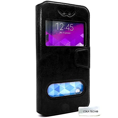 Custodia Compatibile con Samsung Galaxy Ace 4 - SM-G357FZ - Protettiva Cover e View Finestra - Nero - CEKATECH Protezione Universale di qualità