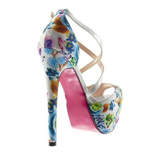 Stiletto Perizoma Scarpe Con Da Cm Scarpe Sexy Angkorly Zeppa Bianco A Con Donna Fiori Tacco 15 Sandali Plateau Spillo Y4AqqZw