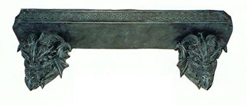 Regalbrett mit Drachenköpfen lebensgroß 50cm für draußen aus Polyresin