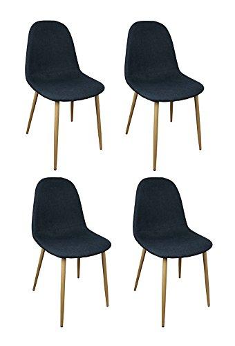 Meubletmoi Lot de 4 chaises Tissu Noir/Bleu - Design scandinave Vintage - Pieds métal Imitation Bois - Confortable et Robuste - Emma