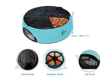 Esky Magnifique Gamelle automatique à 6 compartiments pour chien et chat de couleur bleu muni d'un plateau réglable et d'un enregistreur vocal PF-18