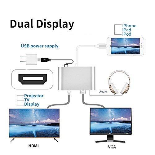 Lightning auf HDMI/VGA/Audio Adapter Konverter Kabel, PHADEN 3 in 1 Lightning 8 Pin zu Digital AV Multiport HDMI VGA & Audio Adapter mit Micro USB Ladekabel + 3,5 mm Audio Port für iPhone/iPad - 4