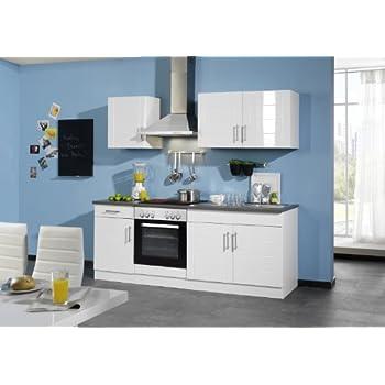 Held Möbel 647.6033 Küchenzeile 210 in Hochglanz-weiß / anthrazit ...