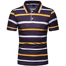 JUTOO Camisa de Manga Corta con Solapa Casual a Rayas de Primavera y otoño para Hombre