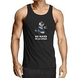 Camisetas de Tirantes para Hombre Go Hard or Go Home - Boxeo, Levantamiento, Gimnasio, Fitness - Ropa de Ejercicio Divertido (X-Large Negro