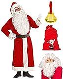 Weihnachtsmann Kostüm Nikolaus Mantel + Perücke u. Bart + Geschenkesack + Glocke