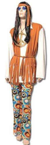 Kostüm Erwachsene Hippie Herren–Einheitsgröße–Beige/Weiß (Hippie Paar Kostüme)