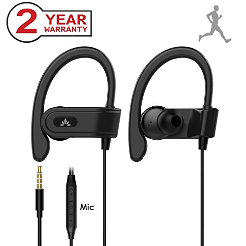 Avantree Sport In-Ear Bügel-Kopfhörer mit Mikrofon, Kabelgebunden Laufen Kopfhörer / Ohrhörer mit Über-Ohr Haken iPhone, Samsung, In Ear Running Headset mit Ear Clips für Gym, Ausarbeiten, Workout Fitness - E171