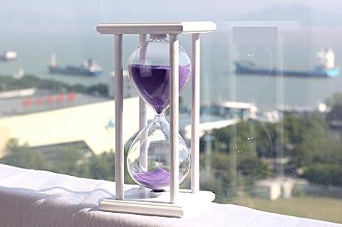 Hourglass Hour Meter Timer Sandy Clock 60 Minute Sandglass (White Frame Purple Sand)