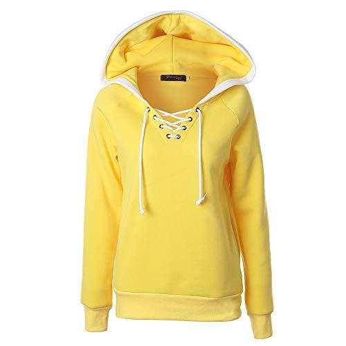 Amoyl Damen Hoodie Große Größe Winter Herbst Solide Langarm V Ausschnitt Verband Kapuzenpullover Pullover Tops Mantel (Gelb, S)