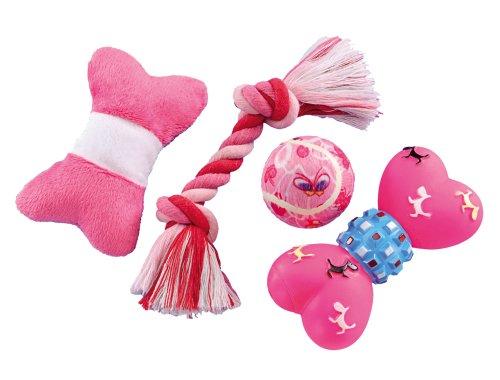 Nobby 79391 Starter Set Spielzeugmix für Welpen und kleine Hunde, 4 teilig, rosa